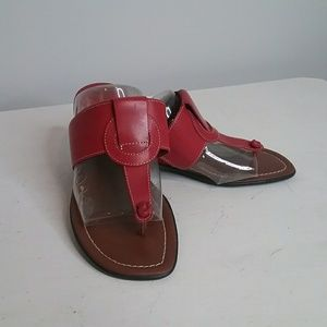 Montego Bay Club Red Leather Sandals Size 6
